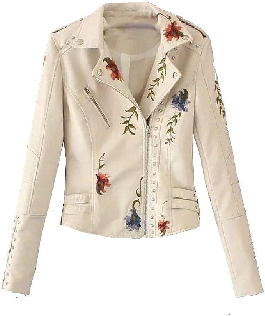 Women Parka Jackets Embroidered PU Biker Zipper Windbreaker Jacket