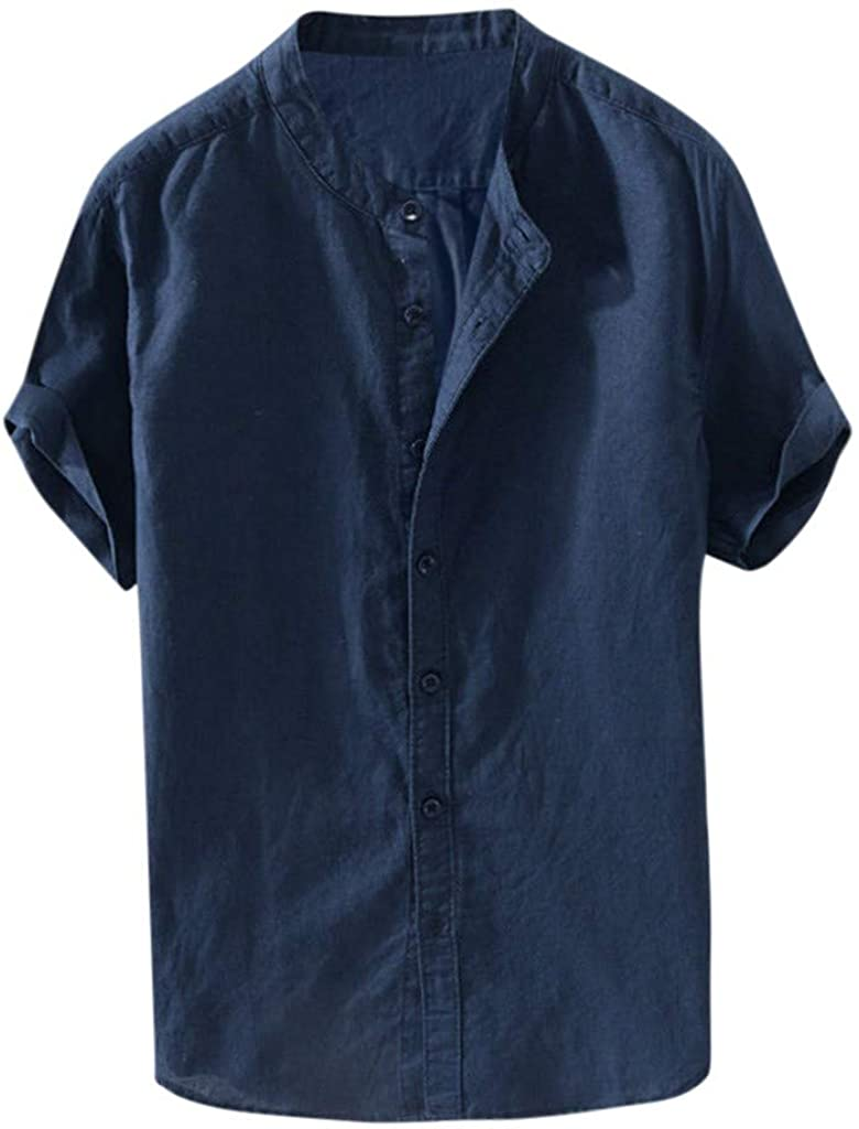 iHPH7 Mens Retro Casual Loose Fit Linen Breathable Cooling Roll-up Sleeves Solid Soft Comfortable Shirt