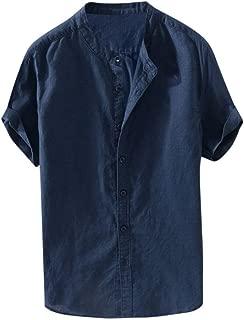 IHGTZS Shirts for Men, Men's Baggy Cotton Linen Solid Short Sleeve Button Retro T Shirts Tops Blouse
