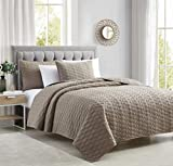Bourina Quilt Coverlet Set Embroidery Bedspread 3-Piece Quilt Set Microfiber Lightweight, King 104' x 92' Taupe