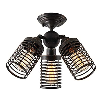 Vintage Cage Close to Ceiling Light Fixture Industrial Adjustable, YEPHALL semi Flush Mount Ceiling lamp for Hallway Stairway Porch Bedroom Kitchen Garage Dining Room Living Room