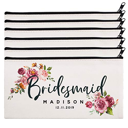 Personalized Makeup Bag Bridesmaid Wedding Customized Pouch Bachelor | Design-8 | Set of 6