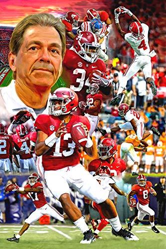 Artist Signed University of Alabama Football Crimson Tide Fine Art Print Poster 11x17 Nick Saban Tua Tagovailoa Football Bama