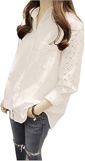 レディース 長袖 トップス シャツ チュニック 花柄刺繍ブラウス 白 サイズ豊富 袖刺繍レース レディース トップス シャツ ブラウス クラシカル フェミニン ゆったりお上品 春 長袖シャツ
