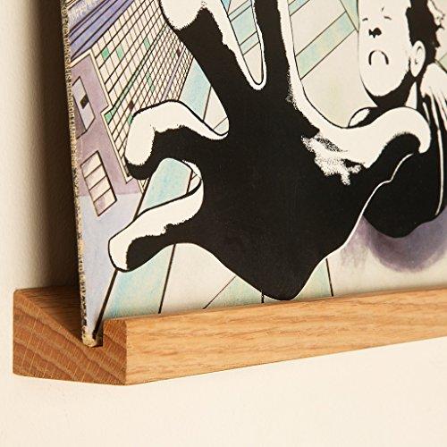 KAIU Vinyl Schallplatten Schweberegal – Schallplattenständer mit Einfacher Installation Massiver Eiche - Elegantes Design für Ihr Zuhause - Schallplatten Deko – Natürlich