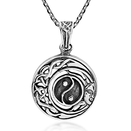 Celtic Half Moon and Sun Yin Yang .925 Sterling Silver Pendant Necklace