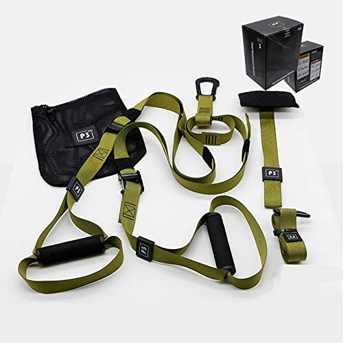 Kit de Correas de Resistencia de Peso Corporal, Entrenamientos de Gimnasio Profesional para Interiores, Viajes y al Aire Libre. Construir músculo Magro, Fuerza Central,Verde