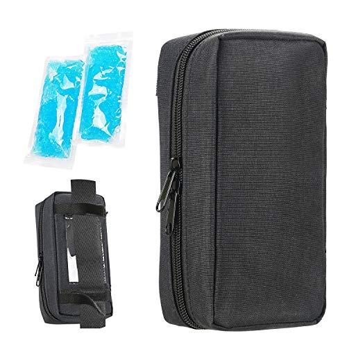 YOUSHARES Insulin kühltasche Reise Tasche - Medikamente Diabetiker Isoliert Tragbaren Kühler Tasche für Insulin Pen und Diabetes kühltasche mit 2 Kühlakkus, Schwarz