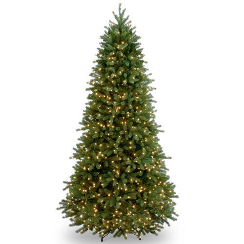National Tree 7.5 Foot 'Feel-Real' Jersey Fraser Slim Tree with 800 Clear Lights, Hinged (PEJF1-304-75)