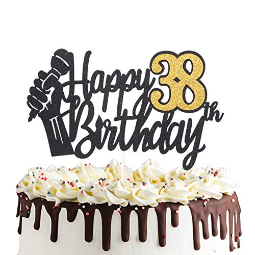 Happy 38th Birthday Cake Topper with Microphone Cheers to 38 Years Old Party Decoration Thirty-eighth Birthday Decor
