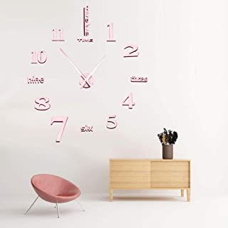 CoZroom Large Rose Gold 3D Frameless Wall Clock Stickers DIY Wall Decoration for Living Room Bedroom Rose Gold