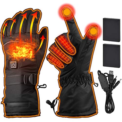 Heated Gloves Electric Heating Gloves| Adjustable USB Rechargeable 3500mAh Touchscreen Waterproof Insulated Hand Warmer Mitten for Outdoor Climb Hiking Cycling Motorcycle Ski Hunting Fishing Men Women