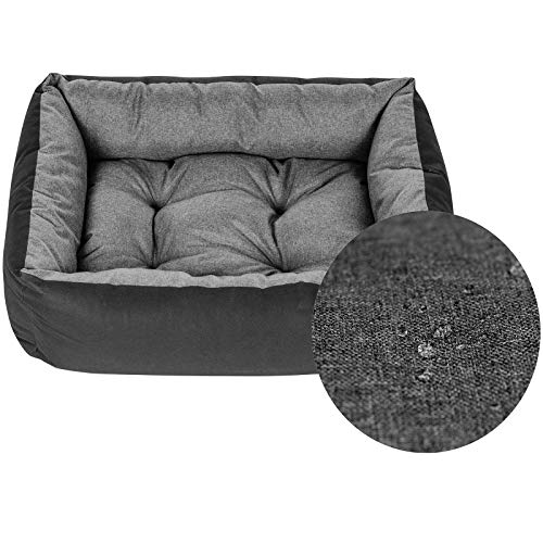 SuperKissen24 Pet Bed for Dog and Cat - Dog Sofa - Washable - Medium and Big Dogs - L - Black and Gray - Flax