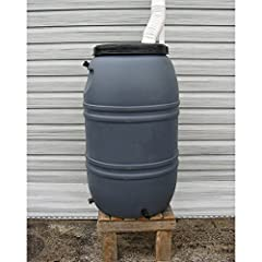 Dimensions: 22 diameter x 38H inches Made of food-quality recycled high-density polyethylene Holds 55 gallons of recycled rainwater Links to other barrels to fill from one downspout Bottom spigot fits standard garden hose