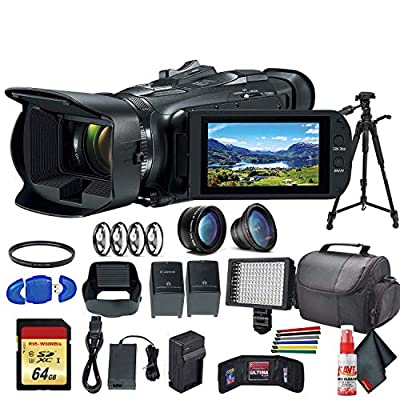 Canon Vixia HF G50 UHD 4K Camcorder (Black) (3667C002) with Extra Battery, UV Filter, Close Up Diopters, Wide Angle Lens,Tripod, Padded Case, LED Light, 64GB Memory Card and More Advanced Bundle from Canon