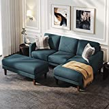 Belffin Corner Sofa 3 Seater with Ottoman L Shaped Sectional Sofa Couch Set for Living Room Blue