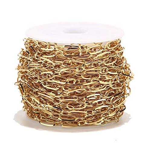 1 Meter 4mm Breite Edelstahl Gold Oval Link Ketten Fit Für Schmuckherstellung (Color : Gold O D Chain)