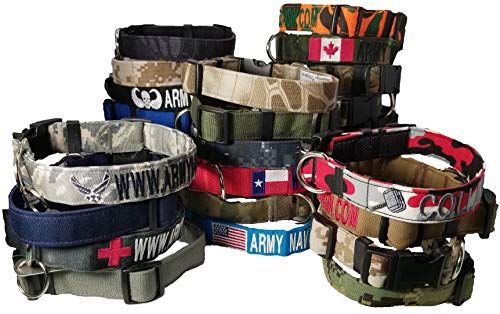 Custom 1' Dog Collars with 1 Logo. USA Made Ships in 24 Hours! Over 35 CAMO/Solid Fabrics to Choose! Plastic & Metal Buckles