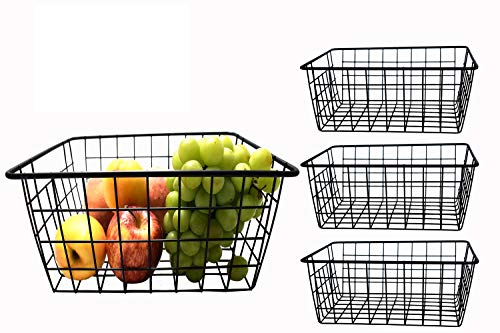 nobrand 4Pack Wire Storage Baskets, Solid Metal Wire Basket for Organizing Kitchen Bathroom Pantry, Desk Open Storage Containers, Mesh Organizing Basket for Desk Shelves Cabinet