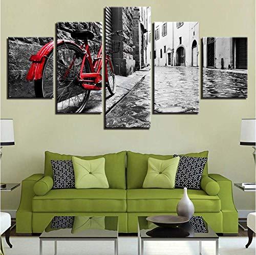 wangjingjing1 canvas, kunst, decoratie, thuis, 5-delig, hemelsblauw, rood, fiets, tegen de muur, bel stree, posters, modulaire HD-Prints 40X60/80/100CM Geen frame