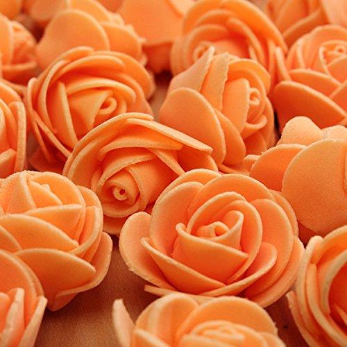 Aliciashouse 50pcs 2.5cm Jour Faux Fleurs -Orange Roses artificielles PE Foam Rose Flower Wedding Party Décoration Valentine