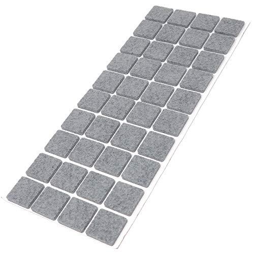 Adsamm® | 40 x Filzgleiter / 25x25 mm/Grau/quadratisch / 3.5 mm starke selbstklebende Filz-Möbelgleiter in Top-Qualität