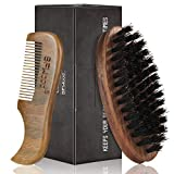 BFWood Beard Brush & Pocket Beard & Mustache Comb - Men's Facial Hair Care Tool
