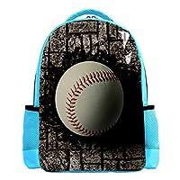 バックパックブックバッグデイパックスクールバッグ レジャーハイキングバックパッキングスクール軽量でかわいいアウトドアを学ぶ埋め込まれたレンガの壁野球