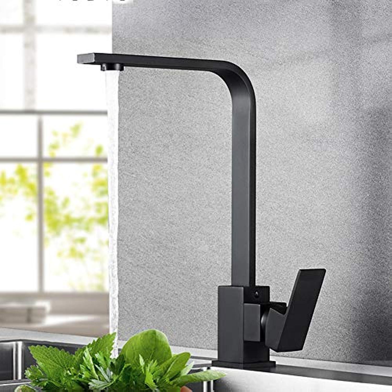 Küchenarmatur Schwarzes Waschbecken Einzelne Kaltwasserhahn Kupfer Quadrat Drehbarer Wasserhahn 360 ° Auslauf für einfache Reinigung und einfache InsGrößetion