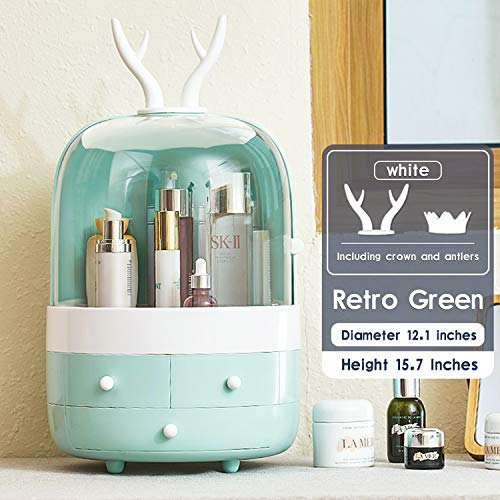 ESOUL TECHNOLOGY Multifunctional Makeup Organizer with Dustproof Jewelry and Cosmetic Storage Skin Care Products Rack Dressing Table Desktop Finishing Box with Drawer on Countertop (Green)