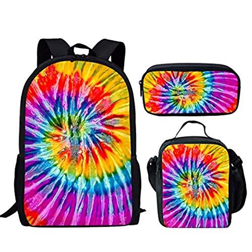 Mochila escolar con diseño de dinosaurios con bolsa para el almuerzo y estuche para lápices, para niños y niñas, mochila escolar y bolsa de diario, 3 en 1 Multicolor A-2. 15,6 pulgadas