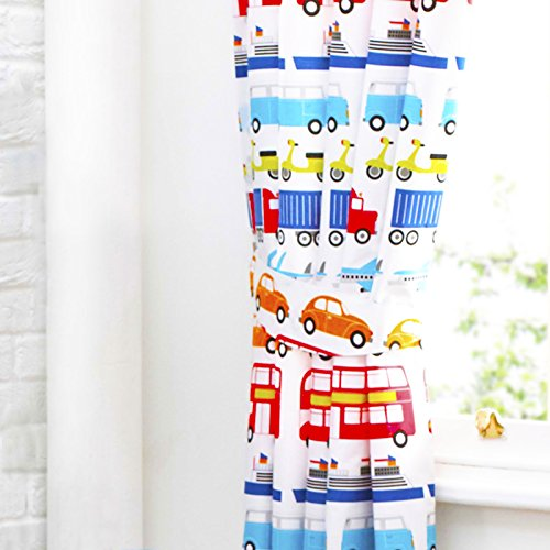 Textile Warehouse Cars Transport Vehicles Lorries Truck Planes Trains White Boys Kids Children's  Pencil Pleat Lined Curtains 66 x 54