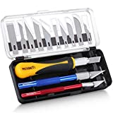 REXBETI 16 Piece Precision Hobby Craft Knife Set, with 10 Piece Refill SK5 Blades, Suitable for Halloween Pumpkin Carving, Art Modeling, Scrapbooking and Sculpture