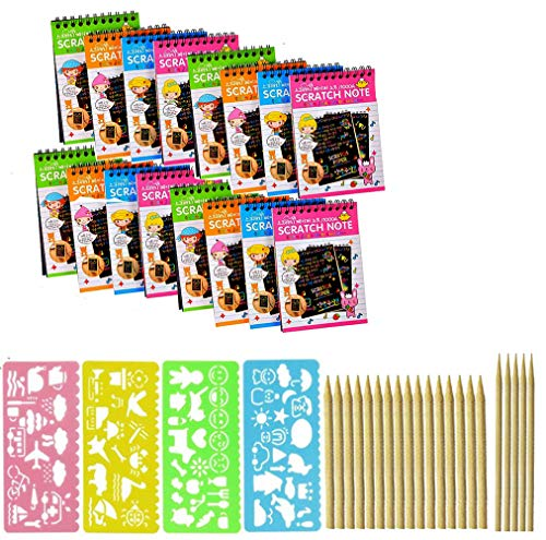 Anyumocz 16 Pack Scratch Note Pads Scratch Art Notebooks Rainbow Scratch Paper with 4 Drawing Stencils for Kids Arts and Crafts Perfect Travel Activity or Gift for Girls Boys Teens