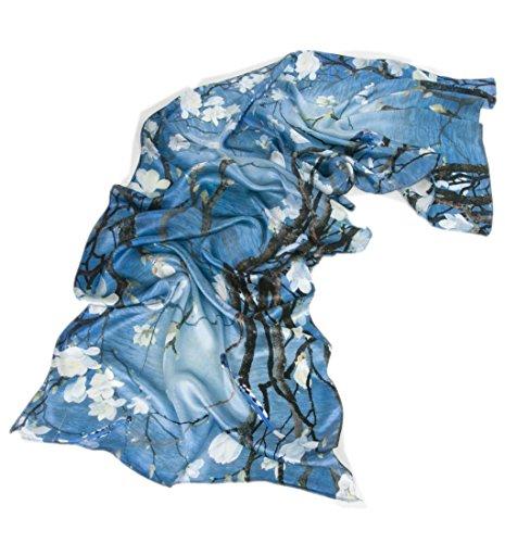 prettystern 180cm Langer Chinesische Malerei Pinsel Freihand Zeichnung Kunstdrucke Seidenschal - Vögel Magnolie Blau Z02