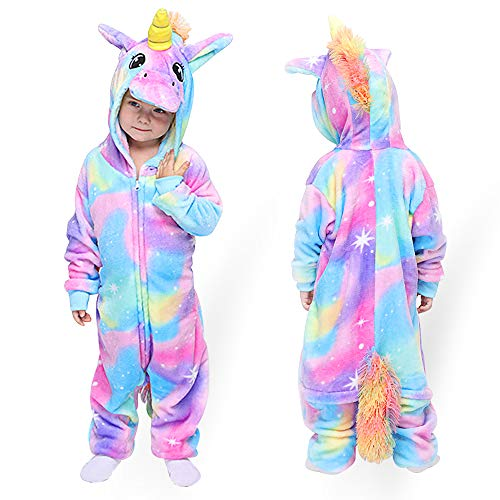 MMTX Unisex Einhorn Kinder Jumpsuits Onesies Kostüm Pyjamas, Flanell Tier Charakter Nachtwäsche Cosplay Halloween Karneval Loungewear für 6-8 Jahre Größe 115-125 cm