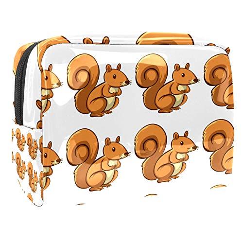 Bolsa de maquillaje porttil con cremallera bolsa de aseo de viaje para mujeres prctico almacenamiento cosmtico bolsa sin costuras linda ardilla