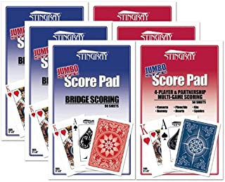 6 Large Score Pads for Bridge & All Card Games
