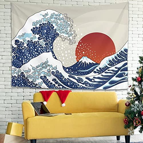 Tapiz de pared con diseño de olas japonesas, para dormitorio, salón, como toalla de playa, esterilla de yoga, color blanco, 100 x 150 cm
