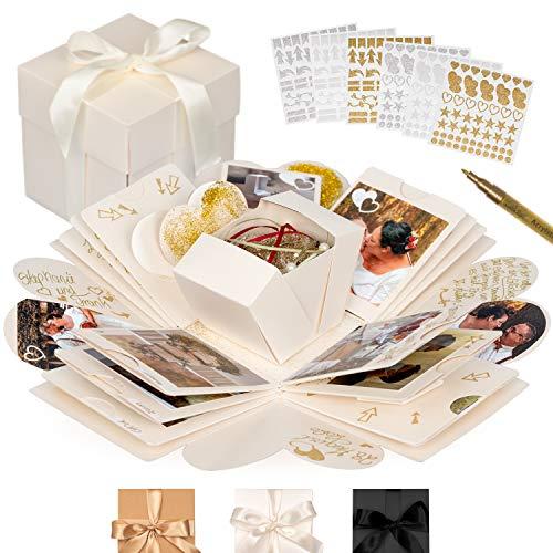 weddlyn® – Überraschungsbox – hochwertiges Papier & Verarbeitung – Explosionsbox mit modernen Stickern und Stift – Creme weiß