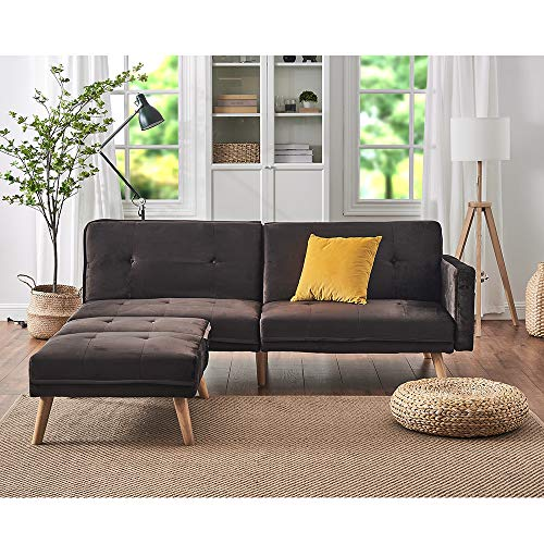 Panana Modern 3 Seater Sofa Settee Corner Sofa Bed with Foostool Fabric Love Seat Single Chair Lounge Chair Living Room Chair Guest Room Sofabed (Velvet Brown, 3 Seater Sofa + Single Chair)