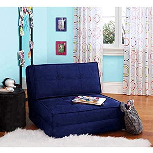Your Zone Ultra Suede Convertible Flip Chair, Blue