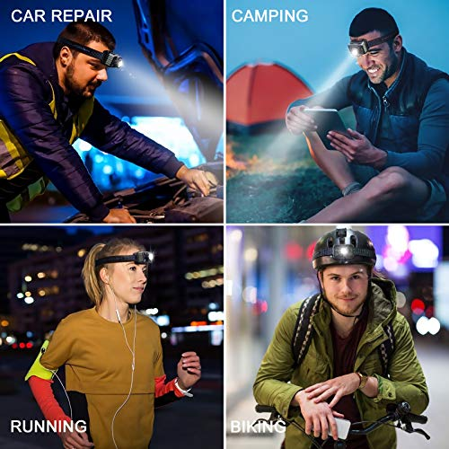 HAUSBELL LED Headlamp Flashlight, Headlight Headlamps, Backpacking Headlamp Rechargeable with Red Light, Headlamp for Adults Camping Hiking Running Hunting Outdoor Indoor, 3 Modes Zoomable