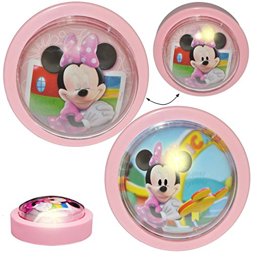 alles-meine.de GmbH LED Nachtlicht -  Disney Minnie Mouse  - Batterie betrieben - magisches Licht & Schlummerlicht - zum Drücken - Touch - Baby / Wand - SCHNURLOS & Kabellos - ..