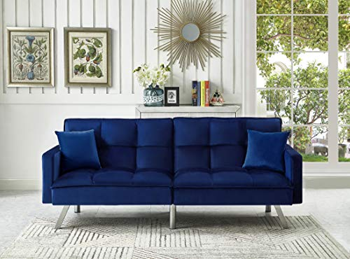 Legend Furniture Comfortable Velvet Sleeper Sofa Bed Sofabed, Blue