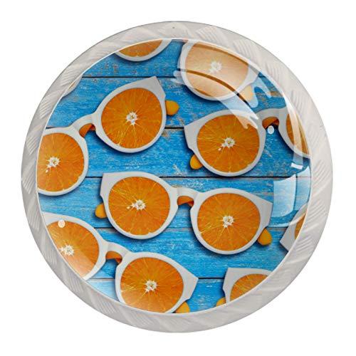 Manijas para cajones Perillas para gabinetes Perillas Redondas Paquete de 4 para armario, cajón, cómoda, cómoda, etc.. Sunglasse en rodajas de naranja