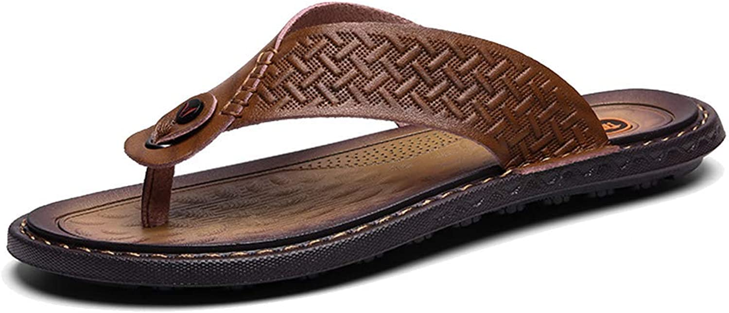 L-X Men's Flip Flop Thongs Slippers Outdoor Spring and Summer Beach shoes Large Size Sandals Slippers, brown, 42EU