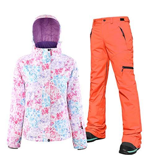 Skijacken und Hosen Set für Damen, Hohe Winddichte Wasserdicht Schneeanzug Snowboard & Skianzug Skiausrüstung Ski-Outfit Snowboard Skianzug Hose, geeignet für Snowboarden, Bergsteigen Gr. L, Orange