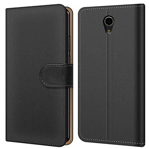 Conie BW49567 Basic Wallet Kompatibel mit ZTE Blade A510, Booklet PU Leder Hülle Tasche mit Kartenfächer & Aufstellfunktion für Blade A510 Case Schwarz