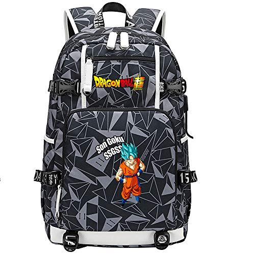 ZZGOO-LL Dragon Ball Son Goku/Vegeta IV/Torankusu Bolsa de Hombro Mochila para Exteriores para un montón de Almacenamiento Bolsa USB Unisex-E